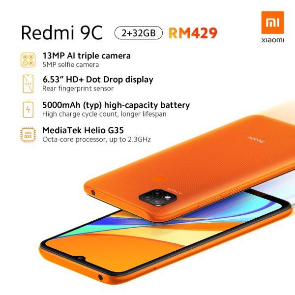 گوشی موبایل شیائومی Xiaomi Redmi 9C با ظرفیت 64 گیگابایت بهمراه گارانتی و پک گلوبال